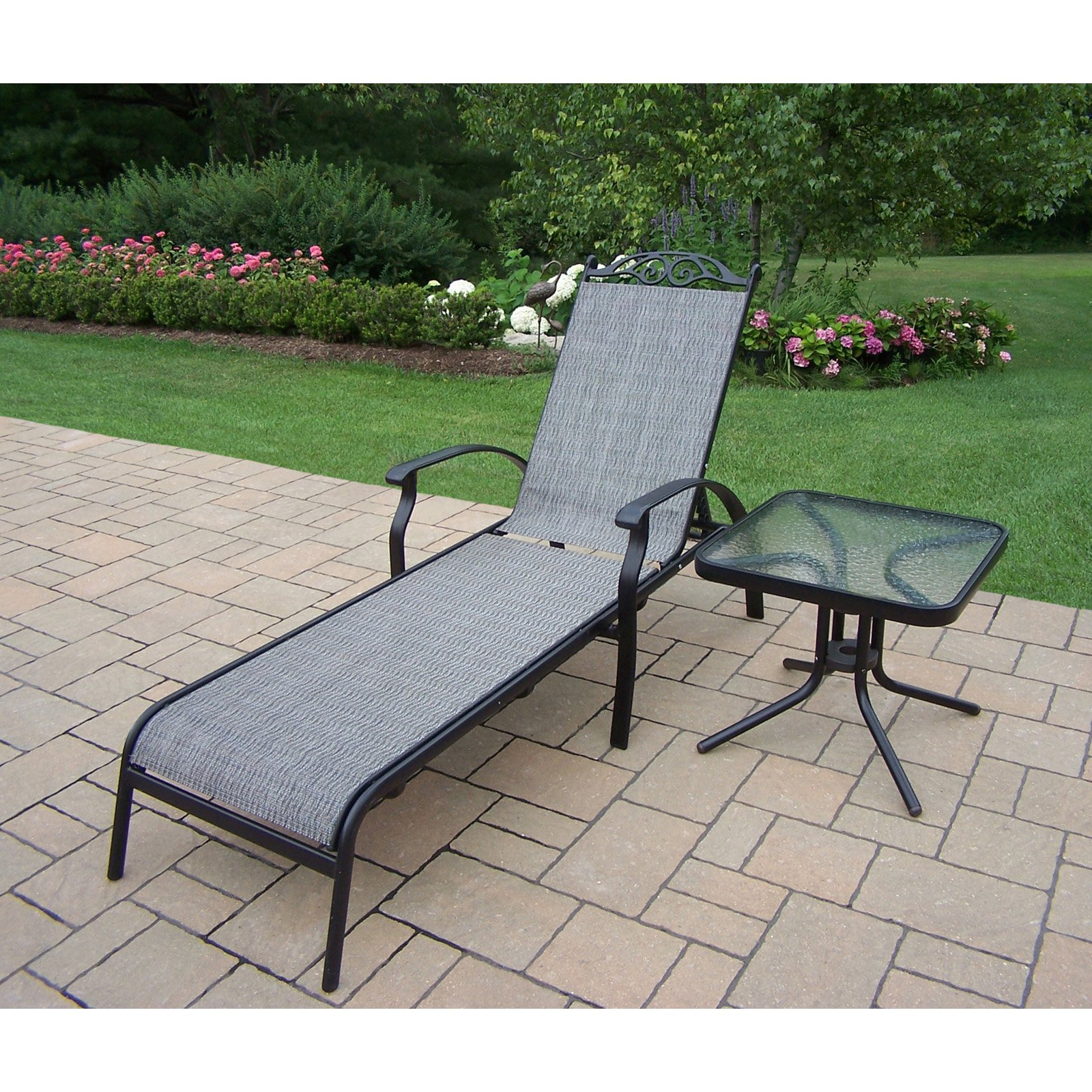 Oakland Living Cascade Aluminum Outdoor Chaise Lounge with Side Table