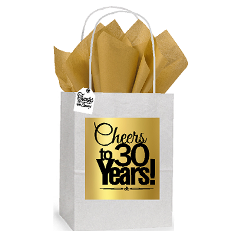 30th Cheers Birthday / Anniversary White and Gold Themed Small Party Favor Gift Bags Stickers Tags -12pack