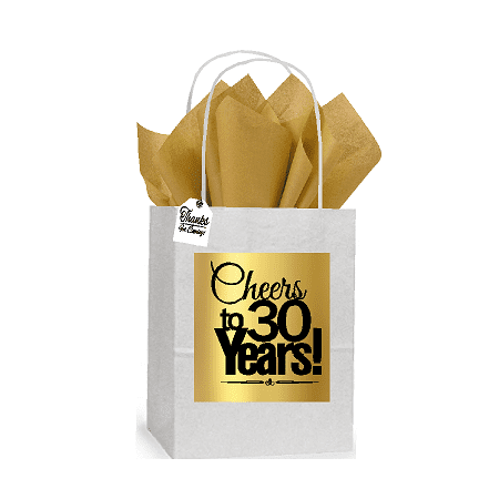 30th Cheers Birthday / Anniversary White and Gold Themed Small Party Favor Gift Bags Stickers Tags -12pack](Golden Birthday Themes)