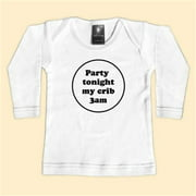 Rebel Ink Baby 313wls612 Party Tonight My Crib 3am- 6-12 Month White Long Sleeve Tee