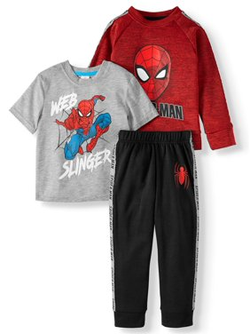 Spiderman Toddler Boy Short Sleeve Graphic T-shirt, Pullover Sweatshirt & Taped Jogger Pants, 3pc Outfit Set