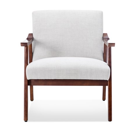 BELLEZE Mid-Century Modern Accent Chair Living Room Upholstered Faux Leather Armchair With Wood Legs