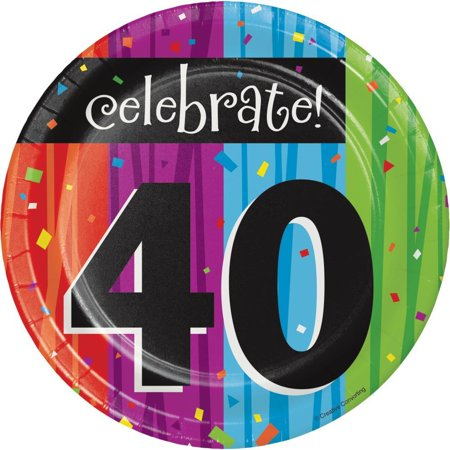 40th Birthday Milestone (Creative Converting Milestone Celebrations 40th Birthday Dessert Plates, 8)