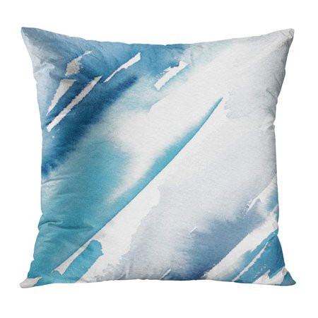 ECCOT Blue Artistic Abstract Watercolor Painting Colorful Beautiful Blended Brush Cerulean Chaotic Pillowcase Pillow Cover Cushion Case 16x16 inch