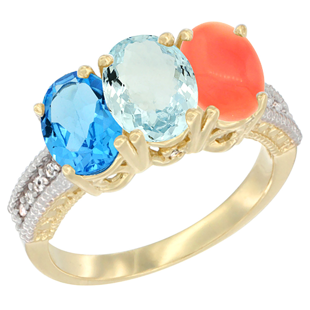 10K Yellow Gold Diamond Natural Swiss Blue Topaz, Aquamarine & Coral Ring 3-Stone Oval 7x5 mm, sizes 5 10 by WorldJewels
