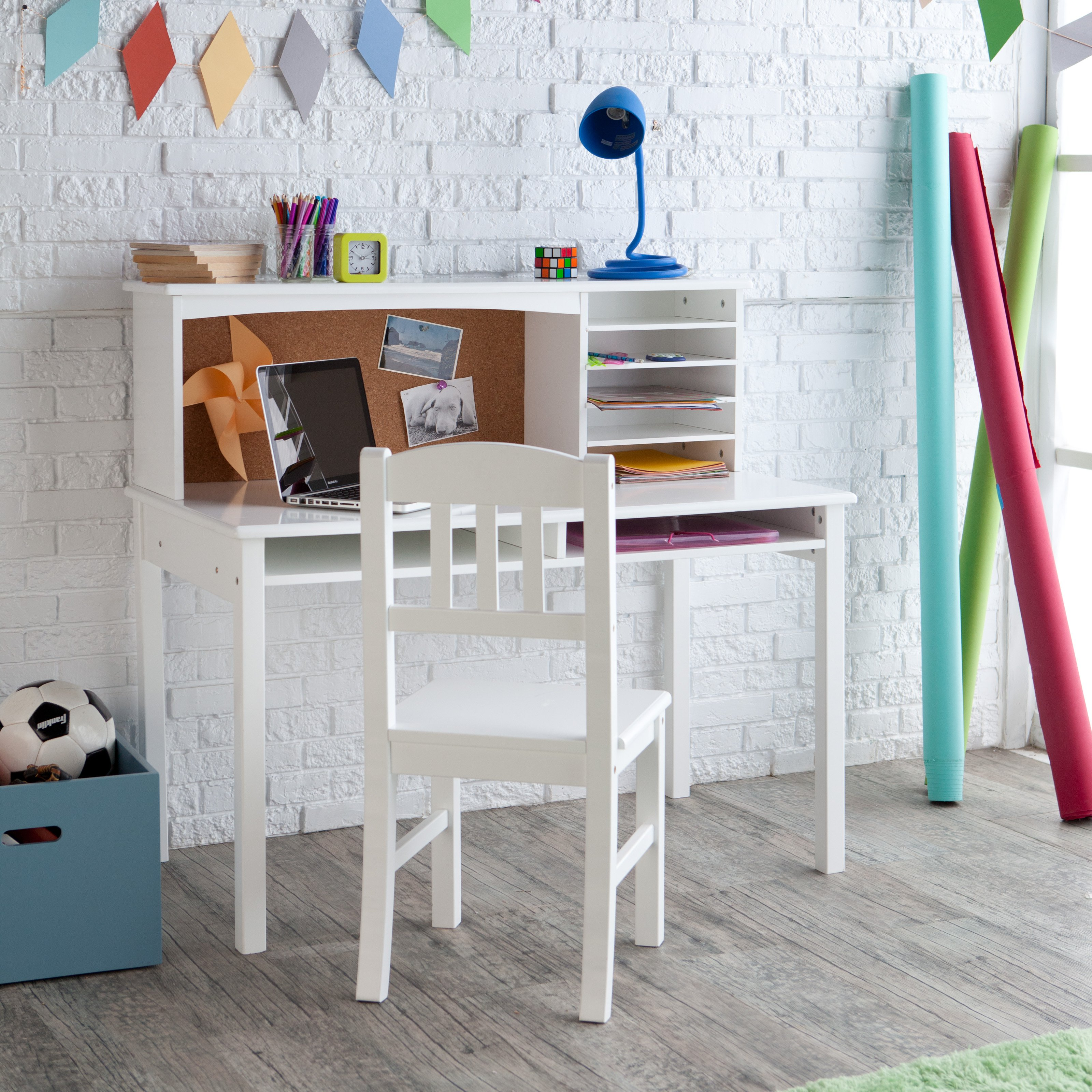 White Desk For Girls Room Magnificent Guidecraft Media Desk & Chair Set  White  Walmart Design Inspiration