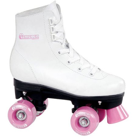 Chicago Girls' Classic Quad Roller Skates White Junior Rink Skates, Size 1 - Lighted Roller Skates