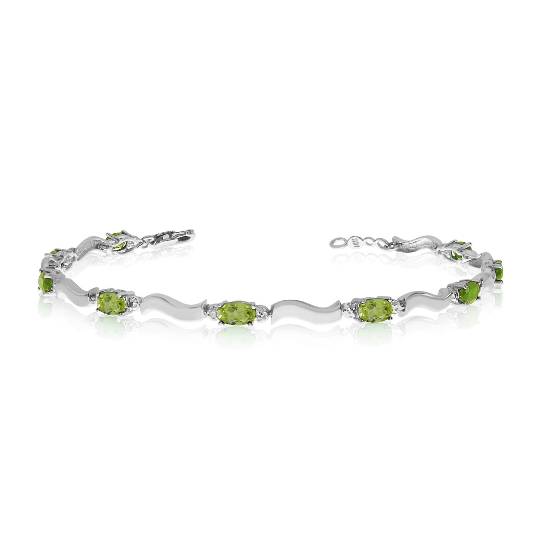 10K White Gold Oval Peridot and Diamond Bracelet by