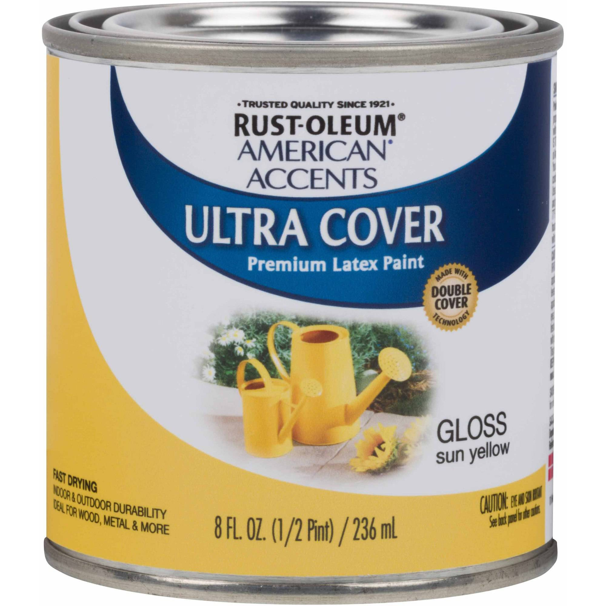 Rust-Oleum American Accents Ultra Cover Gloss Sun Yellow General Purpose Paint, Half-Pint