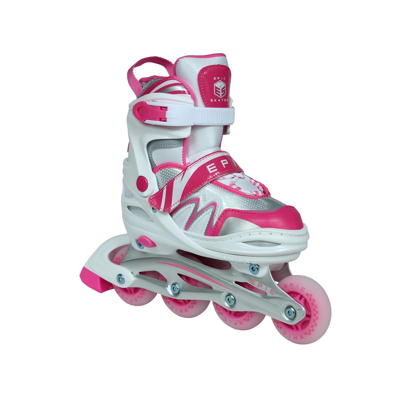 Epic Pixie Adjustable Inline Roller Skates w/LED Light Up Wheels