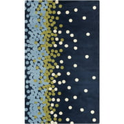 2' x 3' Delightful Dots Lime Green, Navy Blue and Light Blue Super Soft Throw Rug
