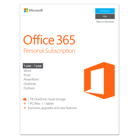 Microsoft Office 365 Personal | 1-year subscription, 1 users, PC/Mac Key Card