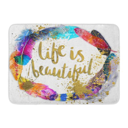 JSDART Colorful Wedding Circle Vibrant Watercolor Boho Feathers Beautiful Bird Doormat Floor Rug Bath Mat 23.6x15.7 inch - image 1 de 1