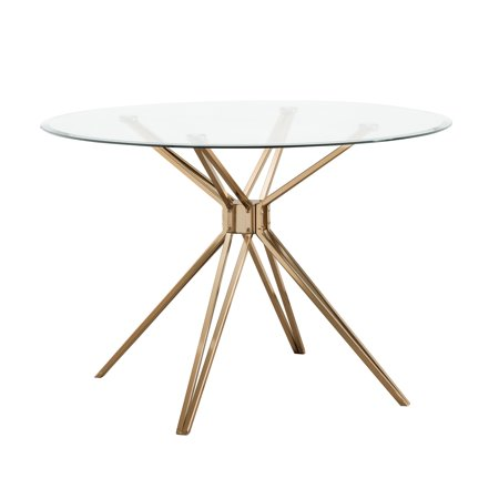Atticus Round Glass Dining Table, Multiple Finishes by Southern Enterprises