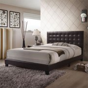 Bowery Hill Faux Leather Upholstered Queen Panel Bed in Espresso
