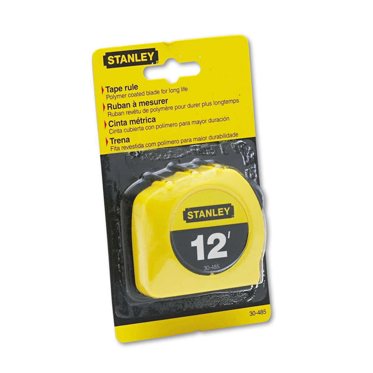 "Stanley Bostitch Power Return Tape Measure w/Belt Clip, 1/2"" x 12ft, Yellow"