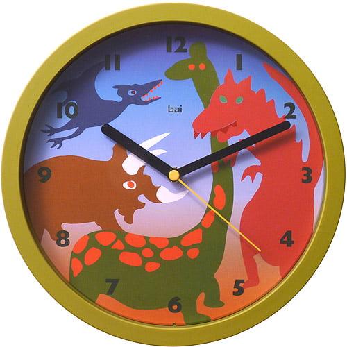 "Bai 10"" Children's Wall Clock, Dinosaurs"