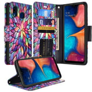 Galaxy A20 Case Leather Flip Pouch Holster Wallet Case Cover Folio [Kickstand] Cute Girls Women Phone Case for Samsung Galaxy A20/A30/A205U Cases - Rainbow
