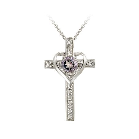 Sterling Silver Amethyst Cross Heart Necklace