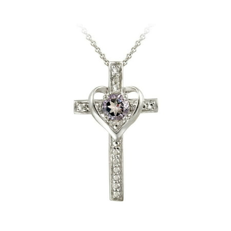 Sterling Silver Amethyst Cross Heart -