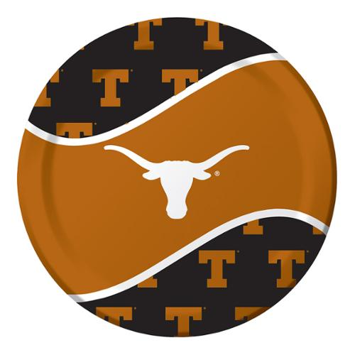 8 Pack 8 3/4 Round Luncheon Plate Texas Longhorns