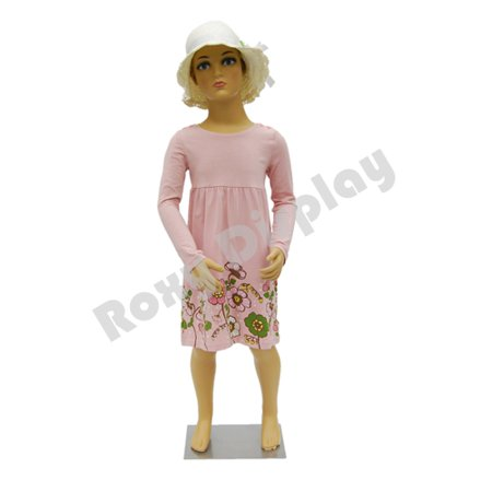 Plastic Child Kid Mannequin 3-5 Years Old Standing Pose Turnable Arms with One Free Wig #PS-KD-5+Free Wig