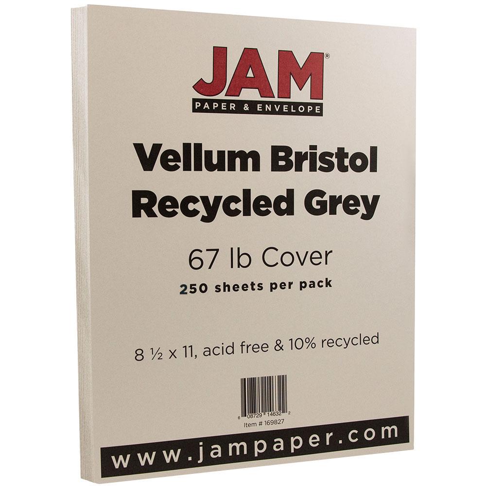 JAM PAPER Vellum Bristol 67lb Cardstock - 8.5 x 11 Letter Coverstock - Grey - 250 Sheets/Ream