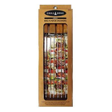 Grill Zone Oval Wood Handle Double Pronged Skewers Only One