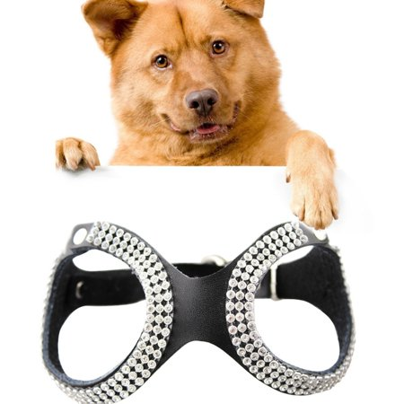 Dog Harness No Pull Rhinestone Leather Crystal Style Breathable Dog Chest Strap, Size: Small - Black