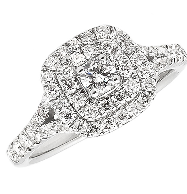 14k White Gold Double Halo Engagement Ring (1.0 ct) by Jewelry Unlimited