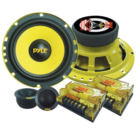 "PYLE PLG6C - 2-Way Custom Component Speaker System - 6.5"" 400 Watt Component with Electroplated Steel Basket, Butyl Rubber Surround & 40 Oz Magnet Structure - Wire Installation Hardware Set Included"