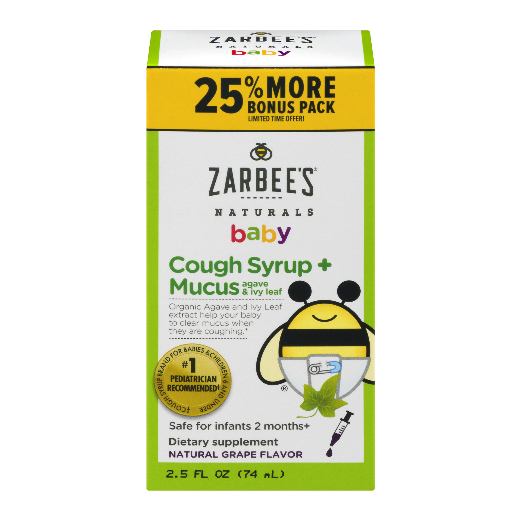 Zarbee's Naturals Baby Natural Grape Flavor Cough Syrup + Mucus, 2.5 fl oz