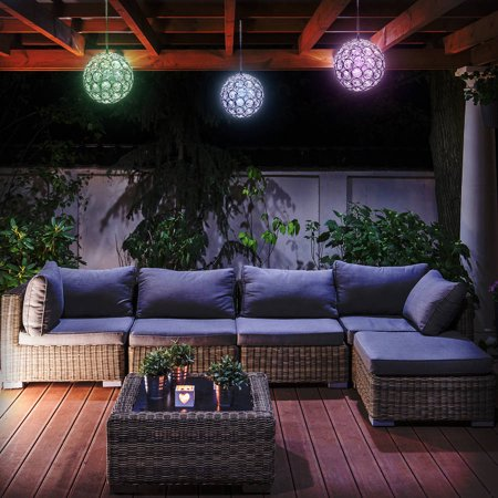 Sorbus led concepts solar hanging sparkling crystal ball for Outdoor lighting concepts
