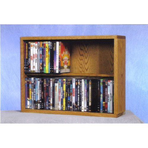 The Wood Shed Solid Oak 2 Row Dowel CD / DVD Combination Media Rack - 24 in. Wide