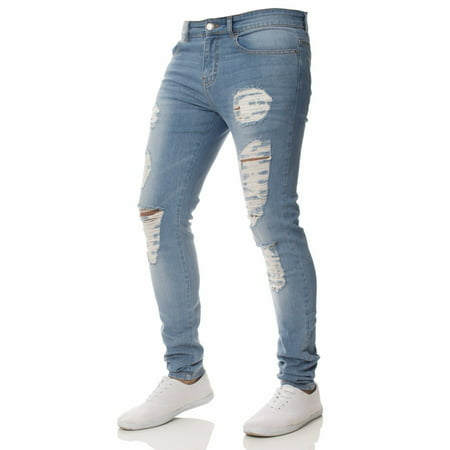 - Newest Fashion Men´s Skinny Ripped Destroyed Distressed Jeans Plain Stretch Tapered Leg Pants