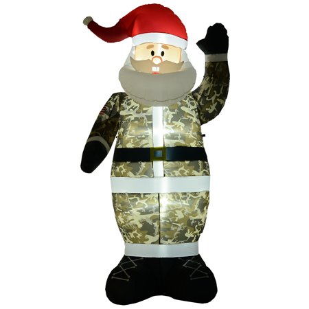 HOMCOM 8' H Christmas Holiday Yard Inflatable Outdoor, Light Up LED Airblown Decoration, Military Camo Santa Claus ()