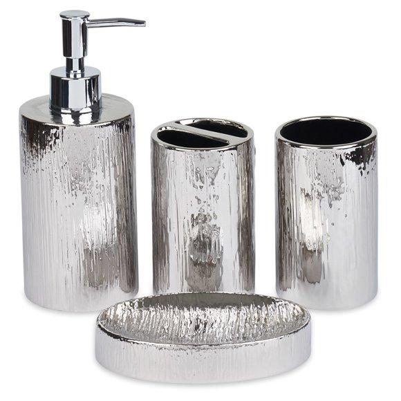 Bathroom Decor Sets Silver, Silver Bathroom Accessories Set
