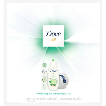 ($12 Value) Dove 3-pc Revitalizing & Refreshing Holiday Gift Set (Bodywash, Deodorant with Bonus Pouf)