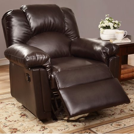 Poundex F6676 Rocker Recliner Espresso Tone Bonded Leather Upholstery