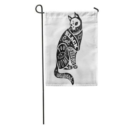 Beautiful Halloween (KDAGR Gothic Cat Black Halloween Skull Beautiful Creative Creativity Dark Garden Flag Decorative Flag House Banner 12x18)