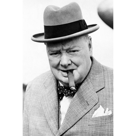 Winston Churchill Classic Cigar Iconic Pose Top Hat Prime Minister 24x36 Poster ()