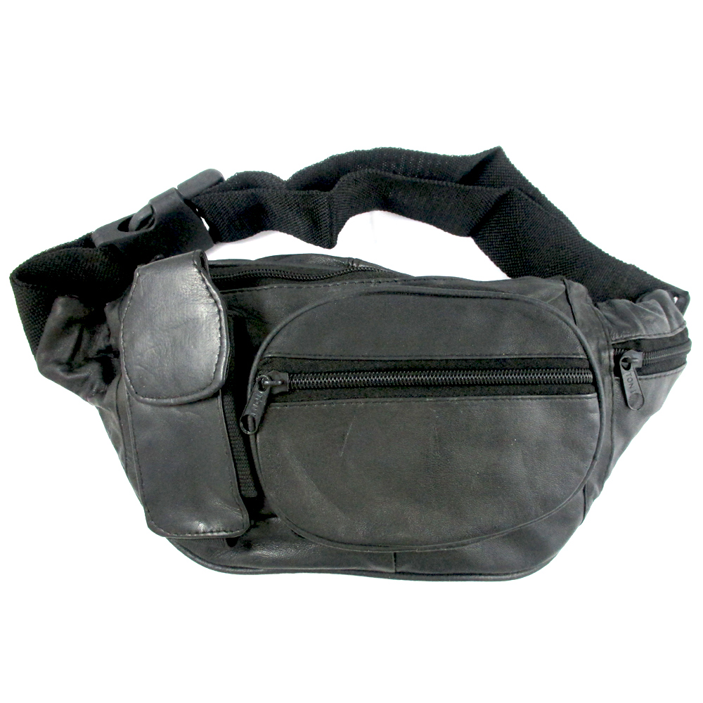 Genuine Leather Fanny Pack Belt Waist Pouch Hip Travel Bag Mens Womens Black New