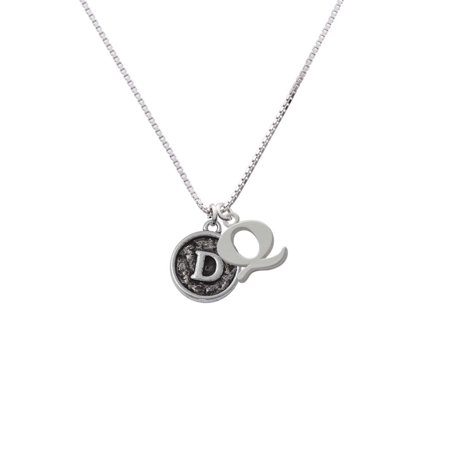 Silvertone Antiqued Round Seal - Initial - D - Q - Initial Necklace