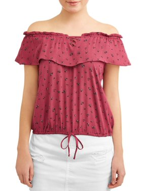135d69948b45d8 Product Image Juniors' Ditsy Floral Print Ruffle Flouce Off the Shoulder  Blouse