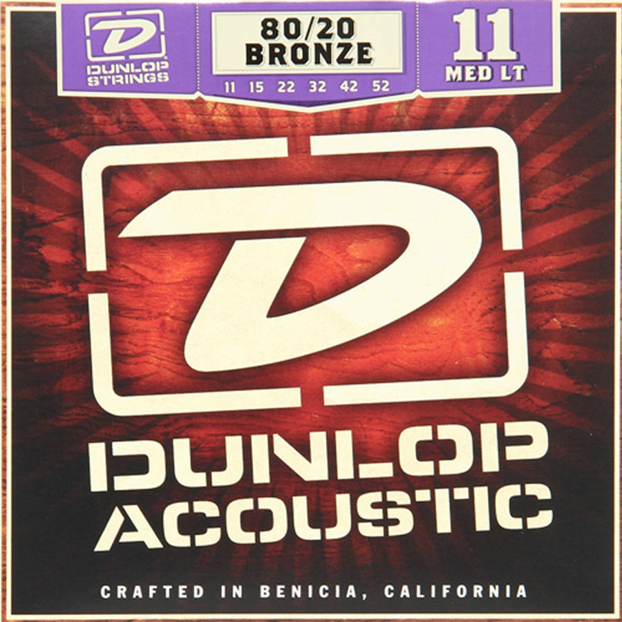 Dunlop DAB1152 80 20 Medium-Light Acoustic 6-String Guitar Set, .011-.052 by Dunlop