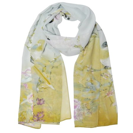 Wrapables® Floral Bird Print Polyester and Silk Oblong Scarf, Periwinkle