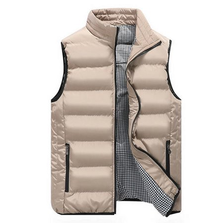 Cotton Sleeveless Vest - Men Winter Clothes Warm Down Cotton Padded Sleeveless Jacket Vest Waistcoat