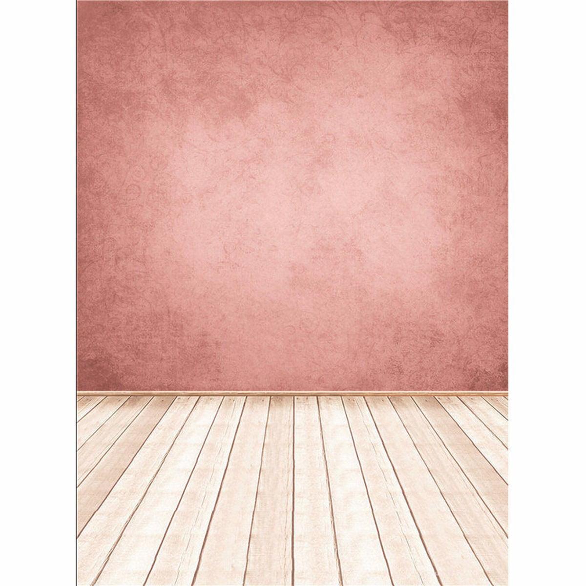 Us 5x7ft Retro Pink Wall Wooden Floor