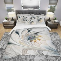 DESIGN ART Designart 'White Stained Glass Floral Art' Modern & Contemporary Bedding Set - Duvet Cover & Shams