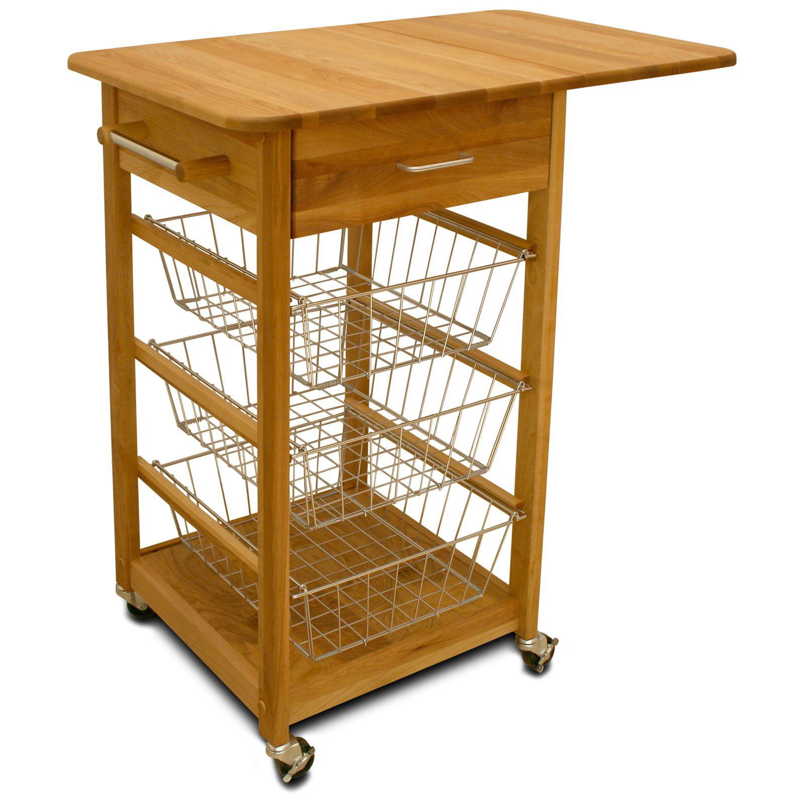 Chrome Wire Basket Kitchen Cart
